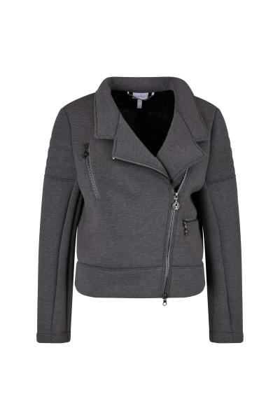 Soft neoprene biker jacket with asymmetrical zipper