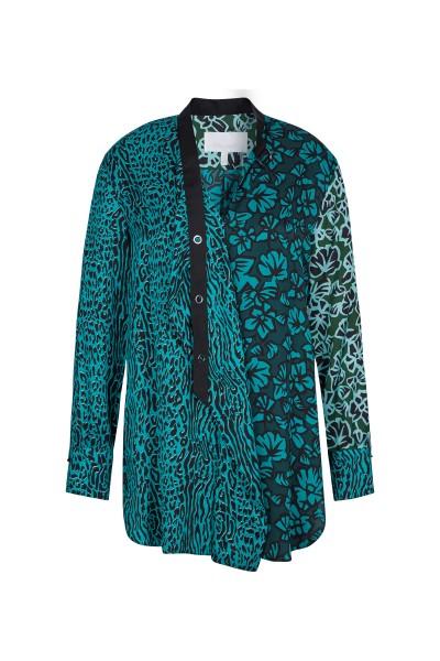 Edle Bluse aus einen Mix von Leooptik und Blumendruck