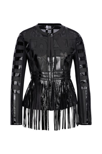 Leather jacket with fringes and laser cut details