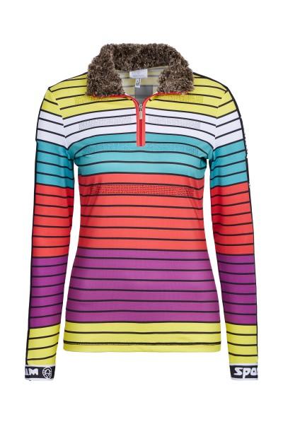 Turtleneck shirt with faux fur collar