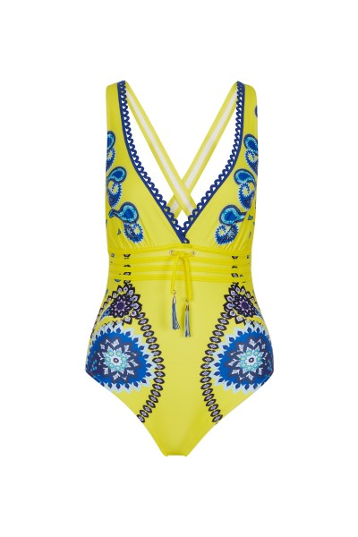 Swimsuit with border and paisley pattern