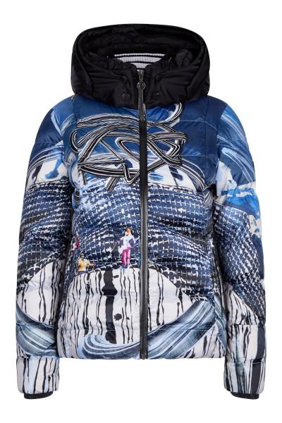 Ski outdoor jacket with retro print