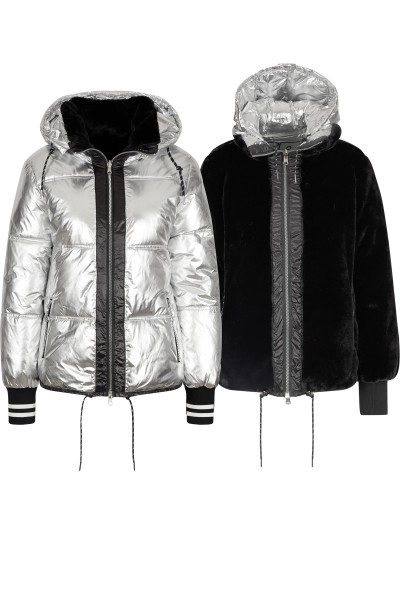 Reversible jacket in a nylon or plush material