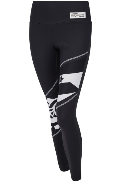 Sporty leggings with high waistband and print/transfer motif