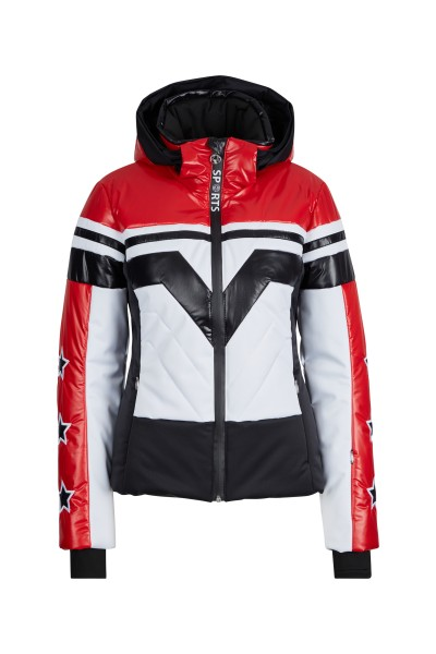 Ski jacket with zip off hood made of material mix