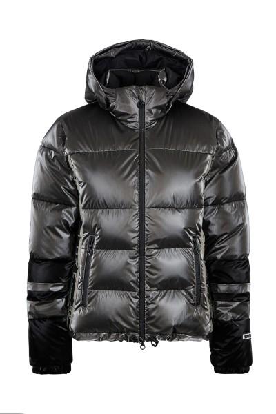 Metallic nylon real down ski jacket with zip off hood