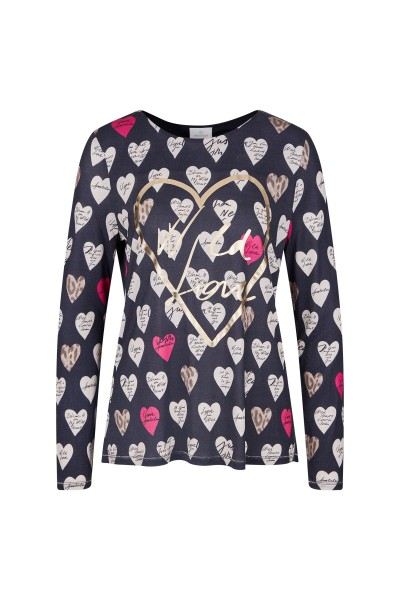 Casual sweatshirt in an all-over heart print