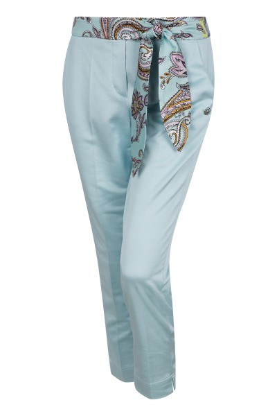 Trousers with floral bow at waistband