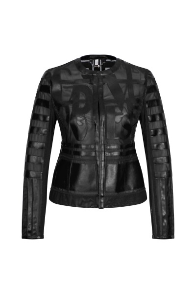Leather jacket with laser cut details