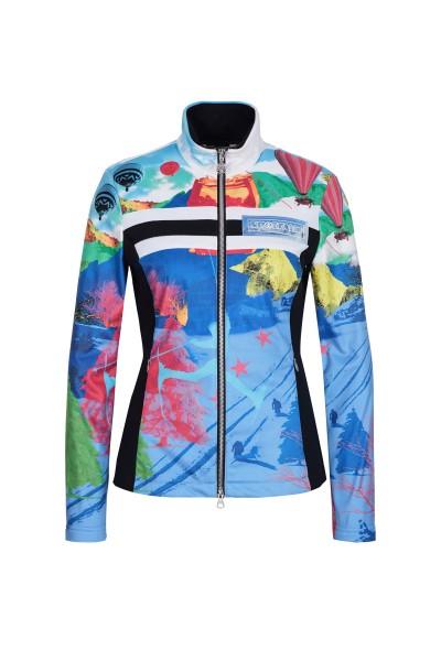 Fleece jacket with gondola motif