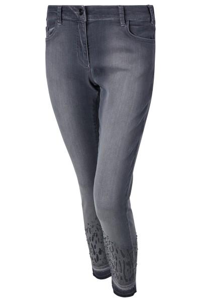 Jeans mit edlem Transfermotiv- Mix und edler Waschung