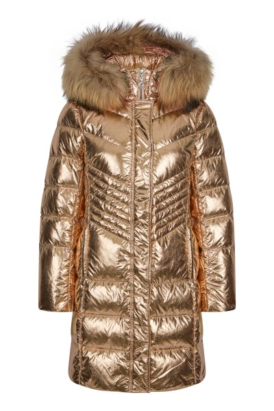 Hooded jacket with fur trimming