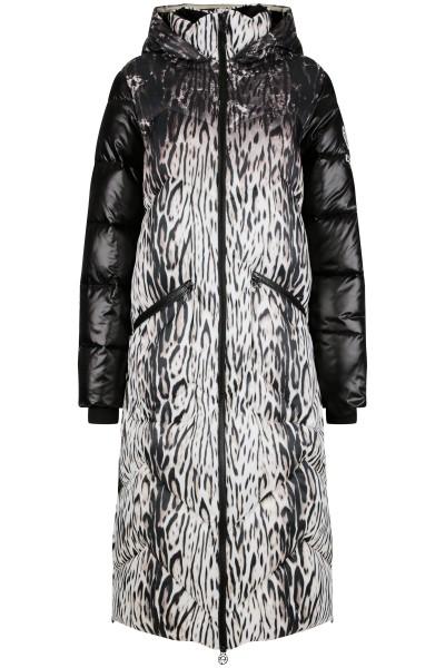 Wattierter, bedruckter Mantel aus Nylon mit fix angenähter Kapuze