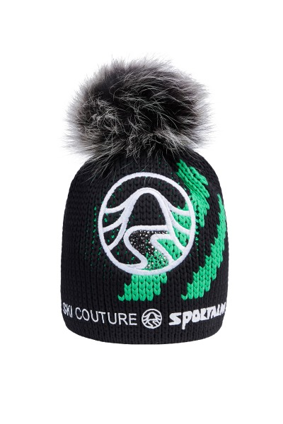 Noble knitted hat with real fur pompom