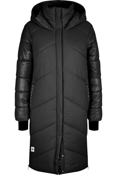 Nylon quality long outdoor coat with star pattern quilting
