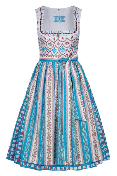 Dirndl with floral pattern in blue, white and red tones
