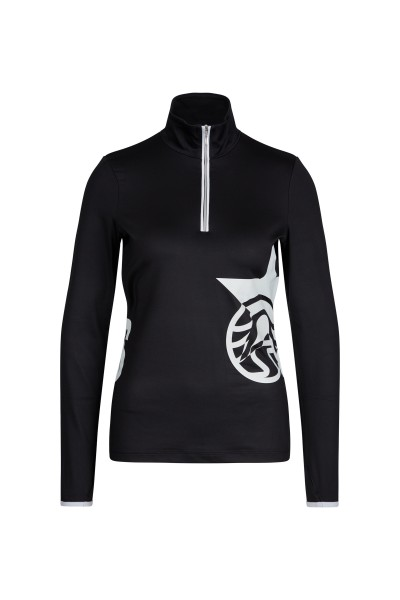 Ski base layer with stand up collar and placed pattern