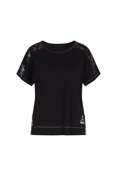 Bluse mit bedrucktem Schulter-Motiv