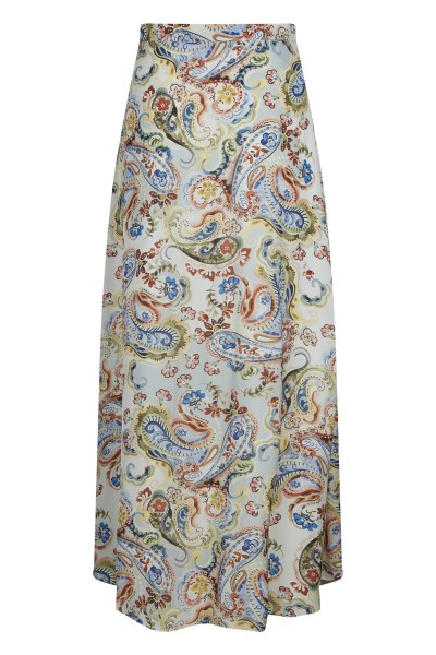Long, airy skirt with all-over print on viscose