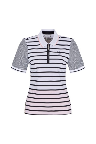Shirt in Streifenoptik und Strickkragen