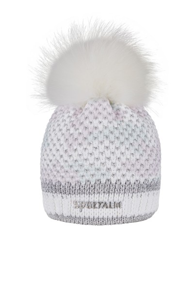 Cuddly knitted hat with real fur pompon