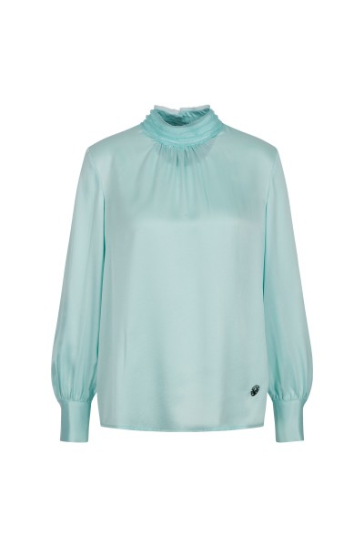 Loose-fitting satin-silk blouse with a stand-up collar