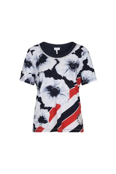 Shirt im Blumen Streifenlook
