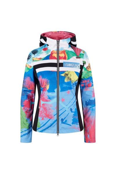 Printed fleece jacket with hood