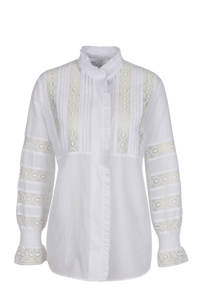 Folkloric blouse with wide sleeves and stand-up collar