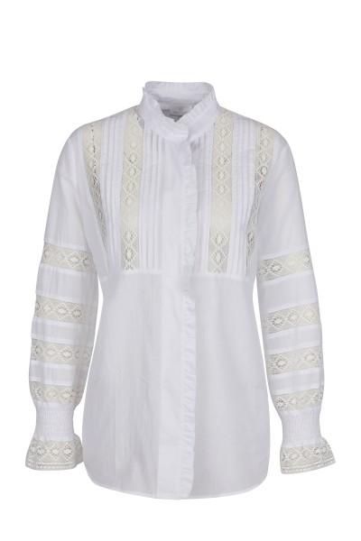 Folkloristische Bluse mit weiten Ärmeln und Stehkragen