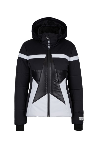 Padded ski jacket with zip off hood made of material mix