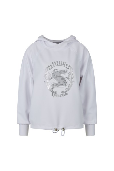 Top fashion sweatshirt with large, tactile print and rhinestones