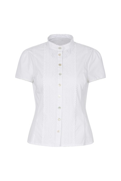Traditional short-sleeved blouse with stand-up collar
