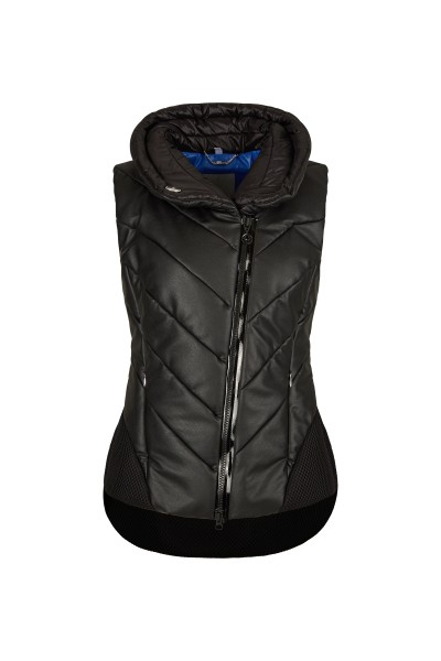 Modern asymmetrical leather and mesh vest