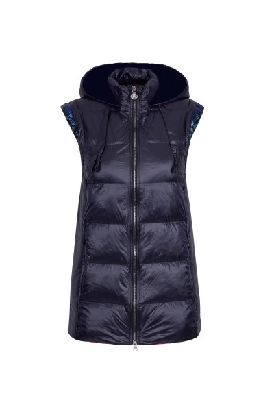Padded quilted vest with hood