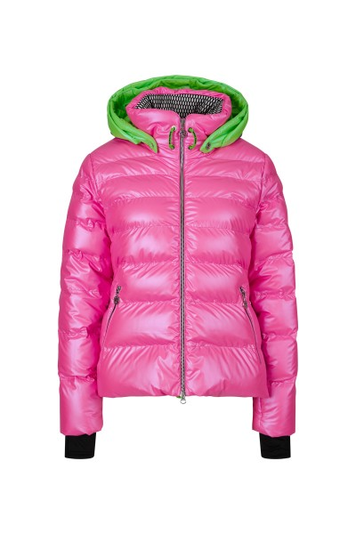 Fashionable ski jacket with real down filling and zip-off hood