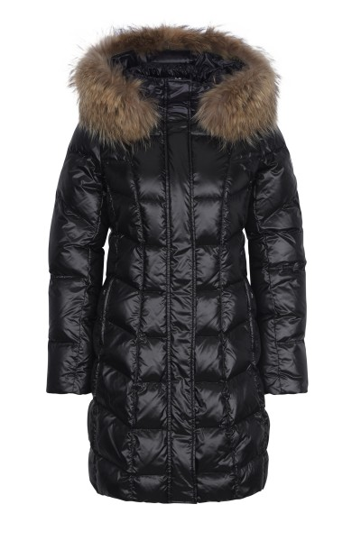 Down coat with hood and fur collar