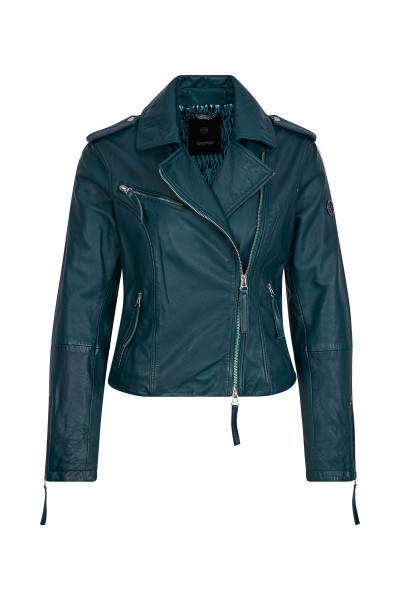 Leather jacket with lapel collar in biker look