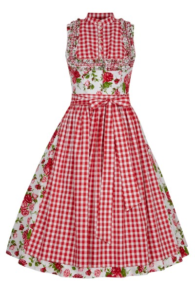 Dirndl in all-over rose print with checkered apron