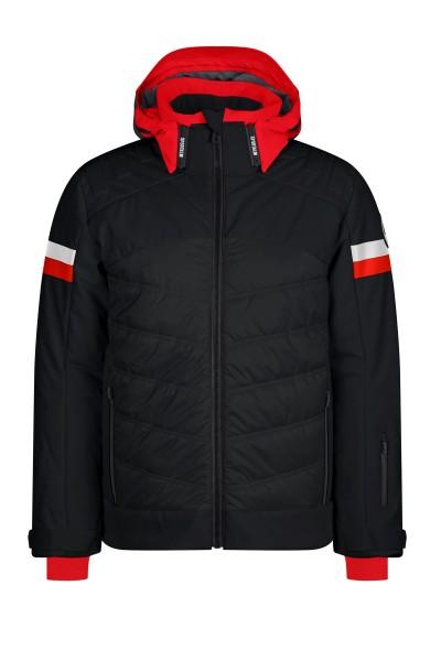 Luxury padded ski jacket with fabric mix