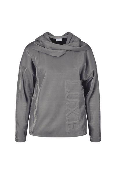 Sweatshirt aus weichem, metallischem Gittersweat mit Kapuze