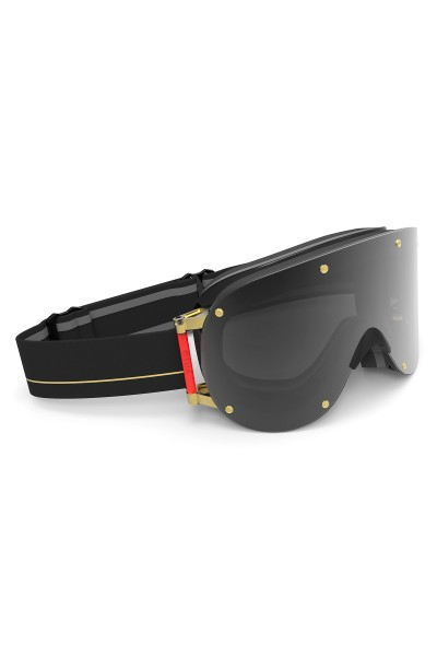 Ski goggles with black/golden magnetic lenses