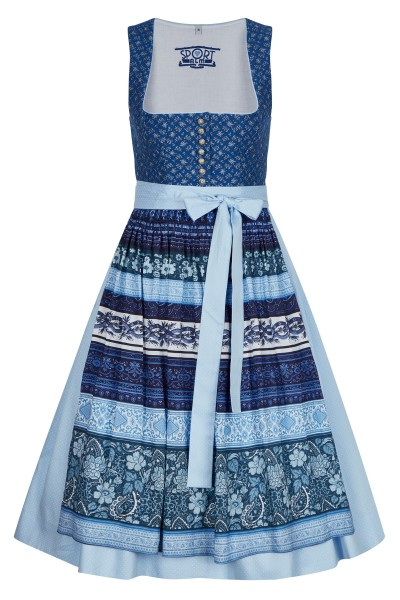Dirndl in blue tones with painted buttons