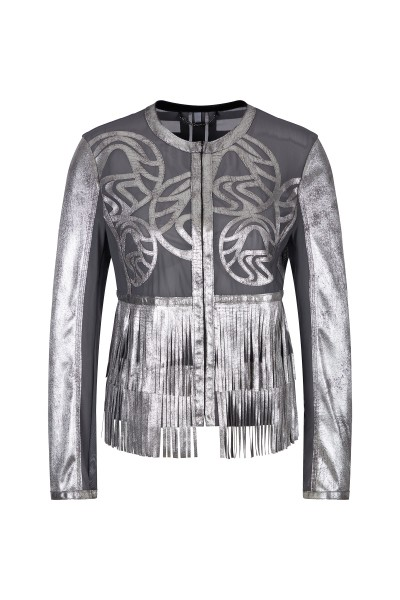 Fake leather jacket in lasercut details