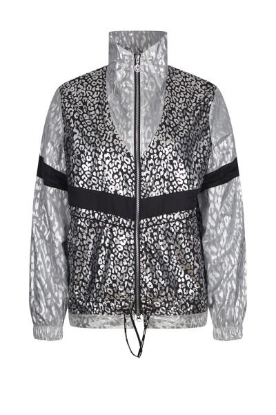 Sportive Nylon-Jacke im Leo-Print