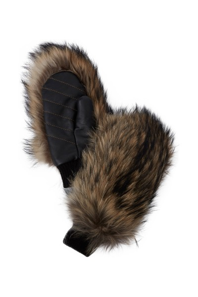 Fur gloves with leather insert