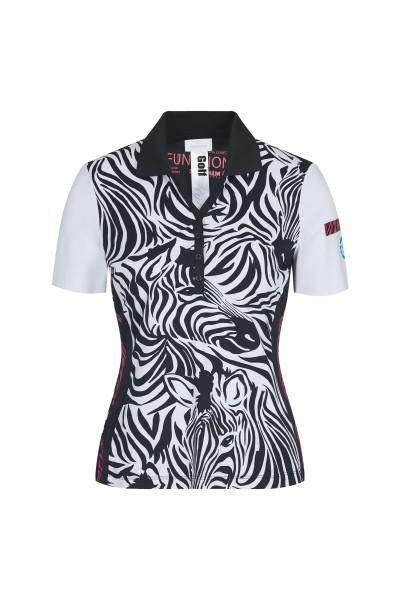 Golfshirt im Allover Zebra-Druck