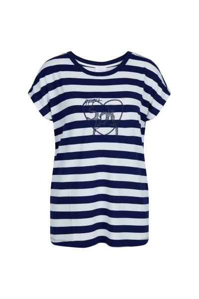 Locker designtes T-Shirt im Streifenlook und Applikation
