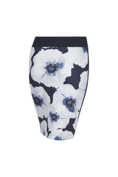 Figure-hugging skirt in all-over floral print