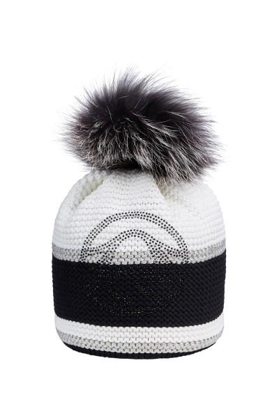 Mütze aus edlem Garn mit Echtpelz-Bommel